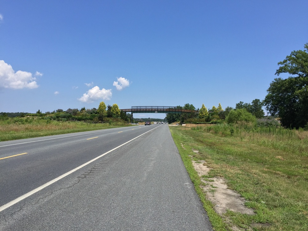 The golf cart bridge that crosses John J. Willams Highway. This also shows just how much space the bike lane grants.