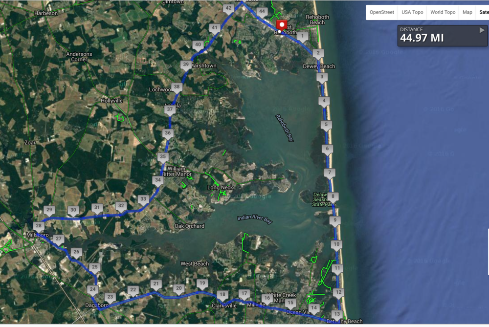 The loose course map with satellite view takes the rider south before turning west. The long road from mile marker 29 to 42 is John J. Williams Highway.
