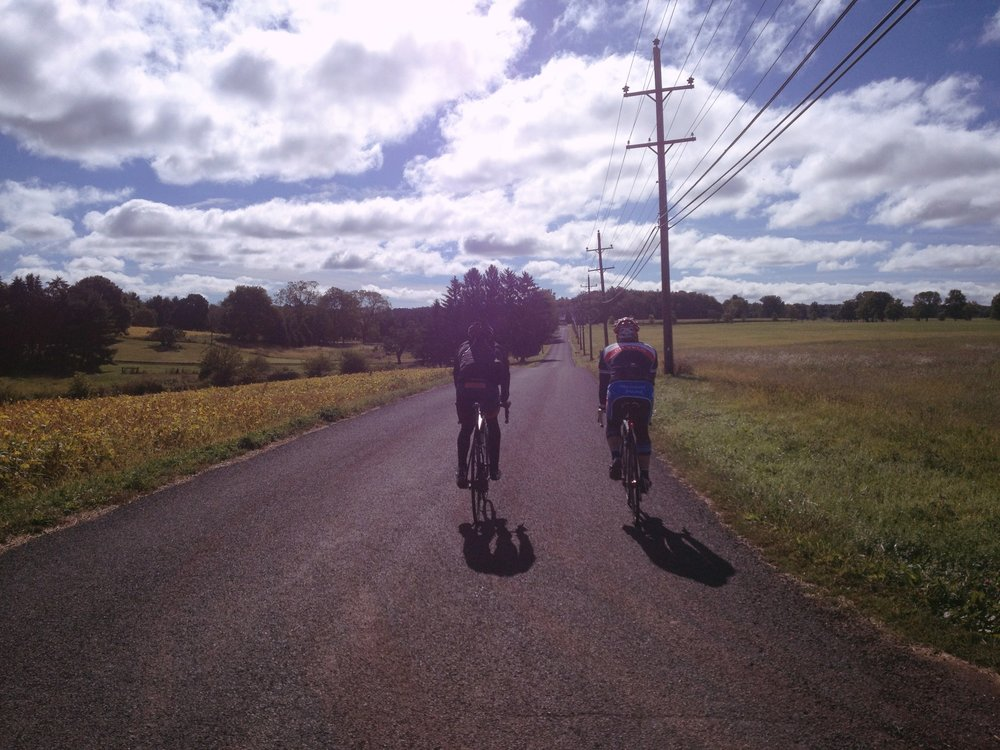 A photo taken by the Missus of our morning ride with Carson before the criterium race later that day in Doylestown.