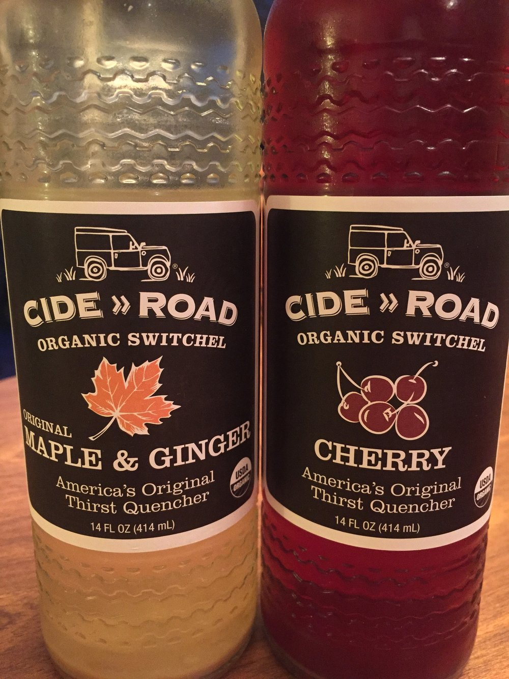 Two of the three switchel flavors offered by CideRoad Organic Switchel. I typically reach for the cherry.