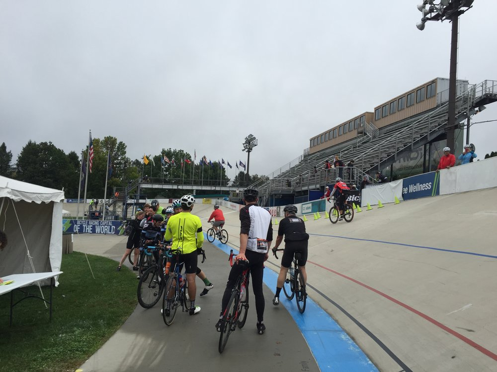 The official finish line within the velodrome. Happily there were no Cancellara flag crashes into puddles.