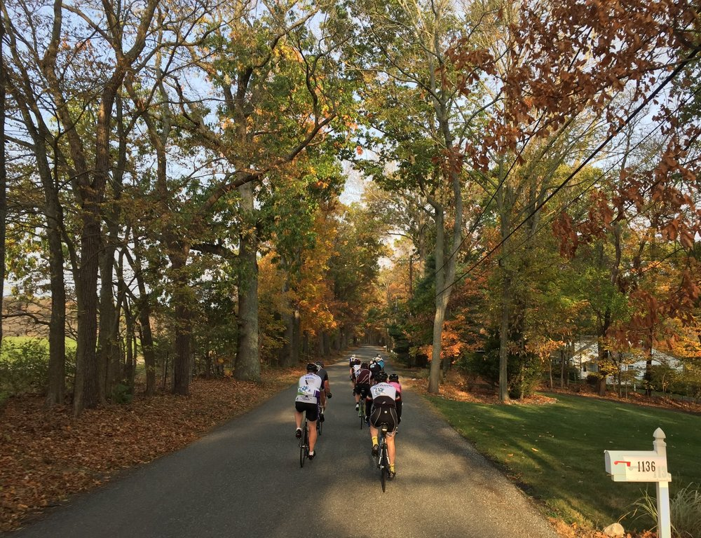A group rolling through some of the wooded areas in the first portion of the ride.