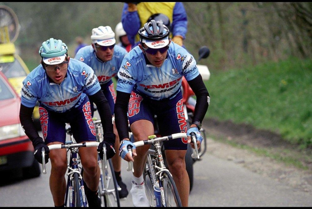 Mark Johnson highlights this moment, in 1994, when EPO made its appearance in the Fleche Wallonne. The Italian Gewiss-Ballan team destroyed the race by a minutes'-long margin. Photo pulled from rouleur.cc. Photo is not mine.