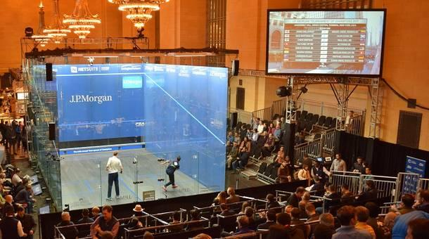 Squash tournament in New York's Grand Central Station. Photo is not mine, and can be found  here .