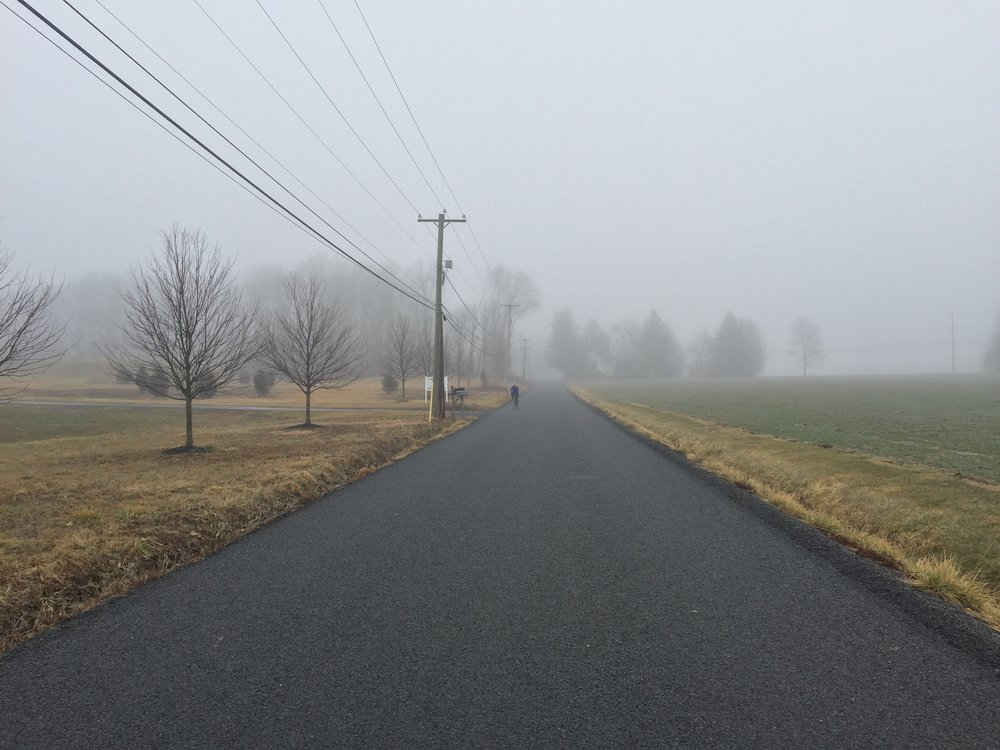 The fog was quite thick at the predetermined meeting location for Mike and me.