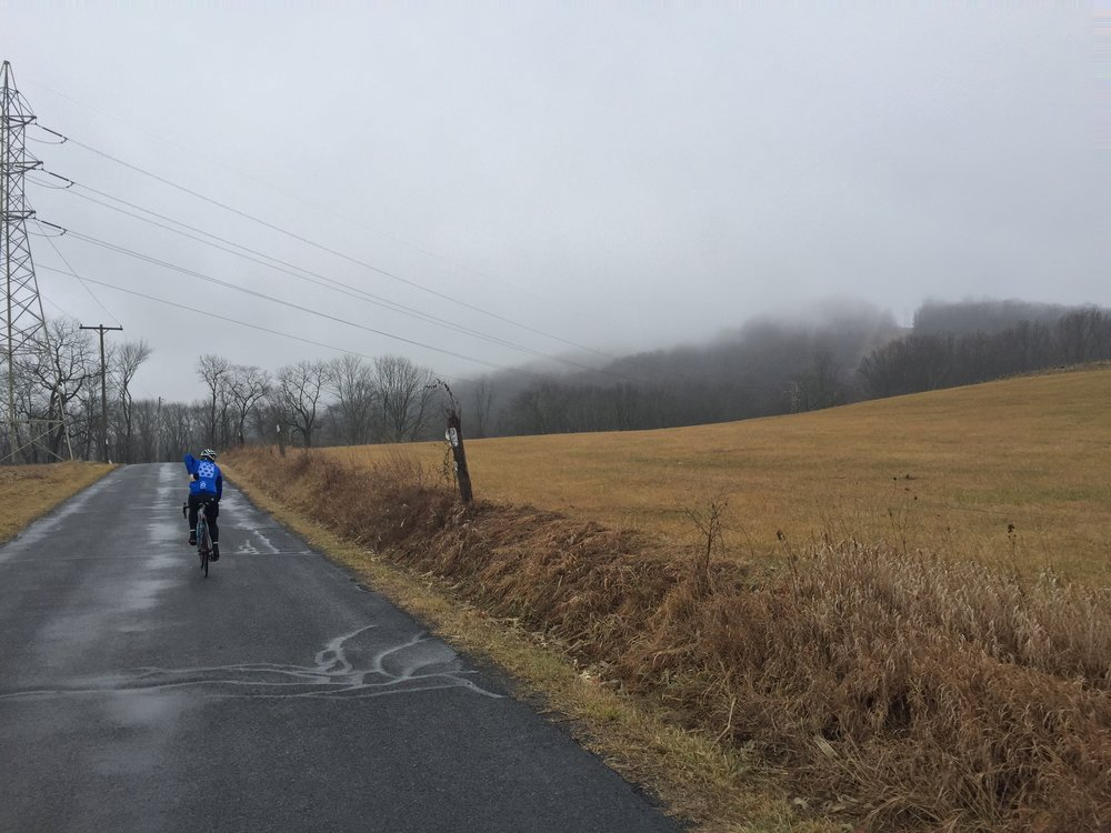 Dogwood Lane's approach is deceptively casual. The climb itself was shrouded in fog.