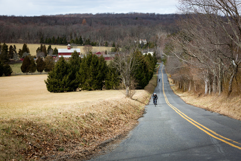 Open space and historic farms are regularly found on quiet country roads for the Sourland Semi-Classic, including one of the final punchy climbs in the final ten miles. Photo courtesy Mike Maney.