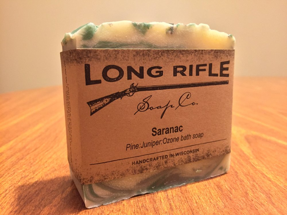 Long Rifle Soap Co. bar of soap captures the smell of the deep woods of the Adirondacks. Impressively the bar of soap was stamped with the Long Rifle logo on both sides.