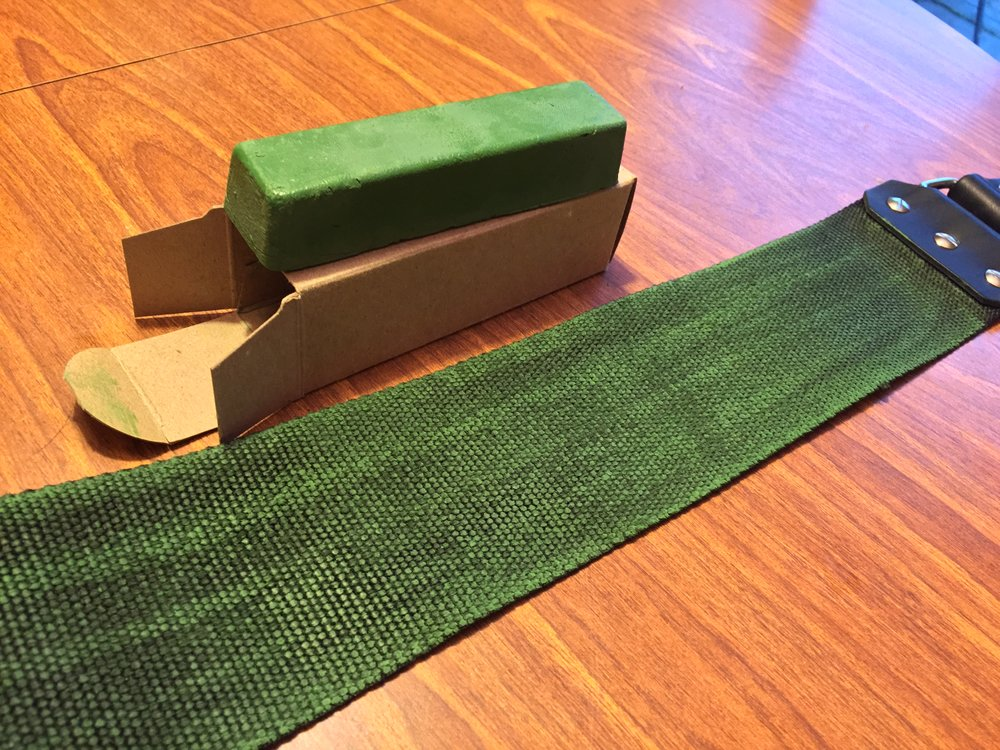 The backside of the linen strop was my personal preference of the chromium oxide bar's placement. It's as simple as coloring, though I removed the towel under the strop to take the photo.