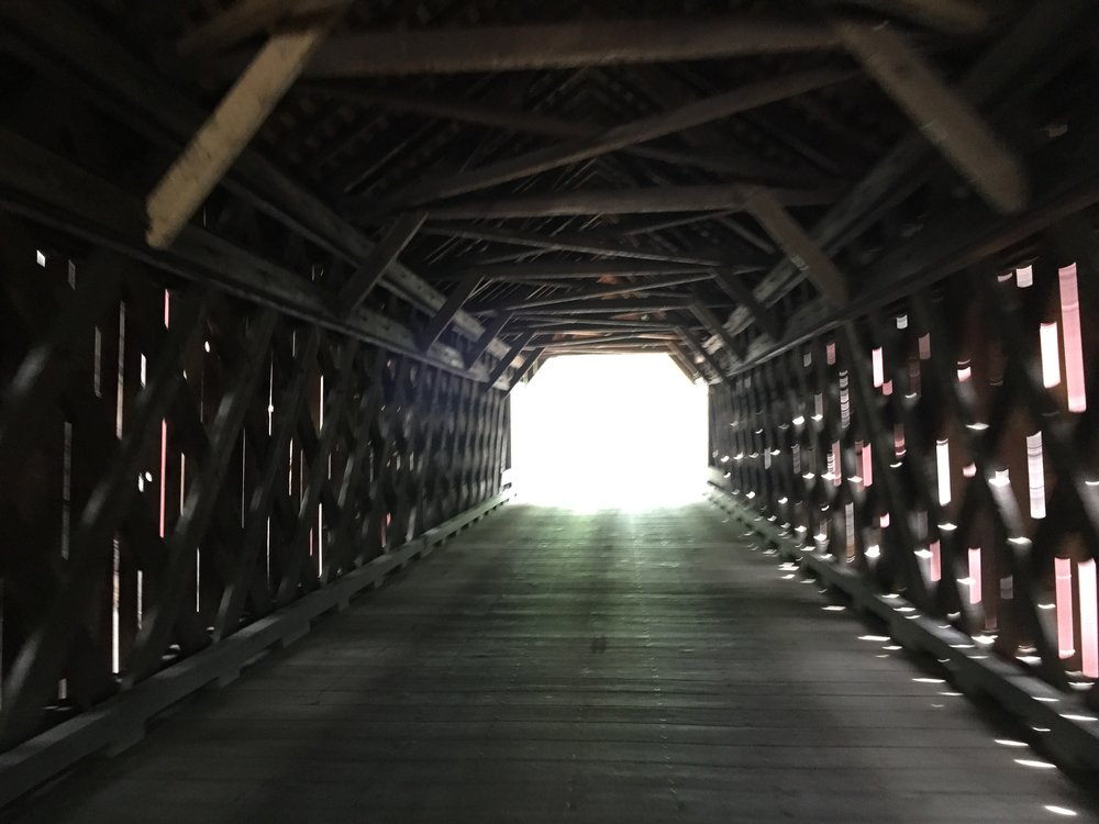 The light at the end of Frankenfield Covered Bridge reveals a climb that is every bit challanging as it looks.