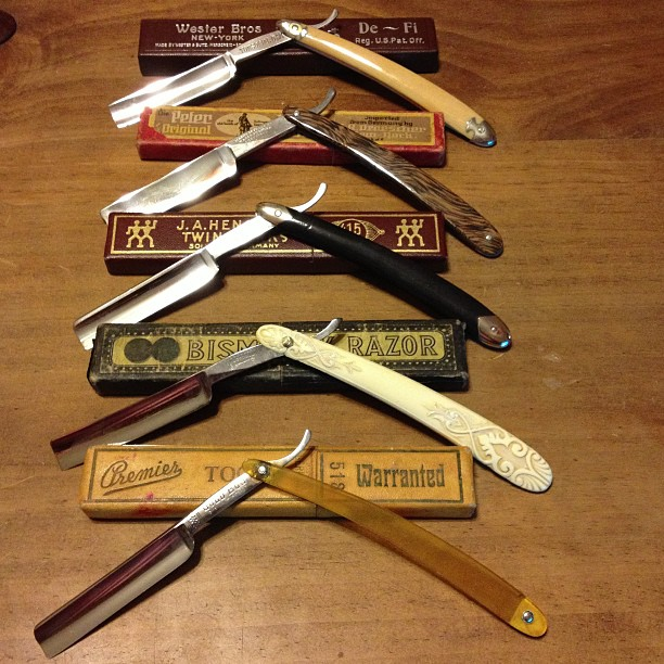 New or vintage, straight razors can bring immense pleasure to the shave process. Here are some restored razors along with their original boxes.