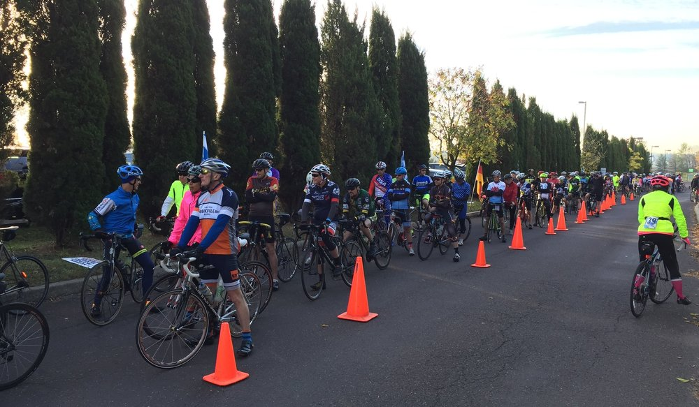The starting corral for the 2017 Kermesse Sport Oktoberfest Ride stretched far down the Appalachian Brewing Company parking lot.