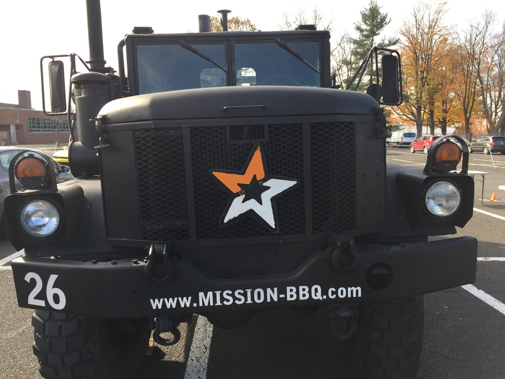 Military surplus meets food trucks. The Mission BBQ truck is definitely eye catching.