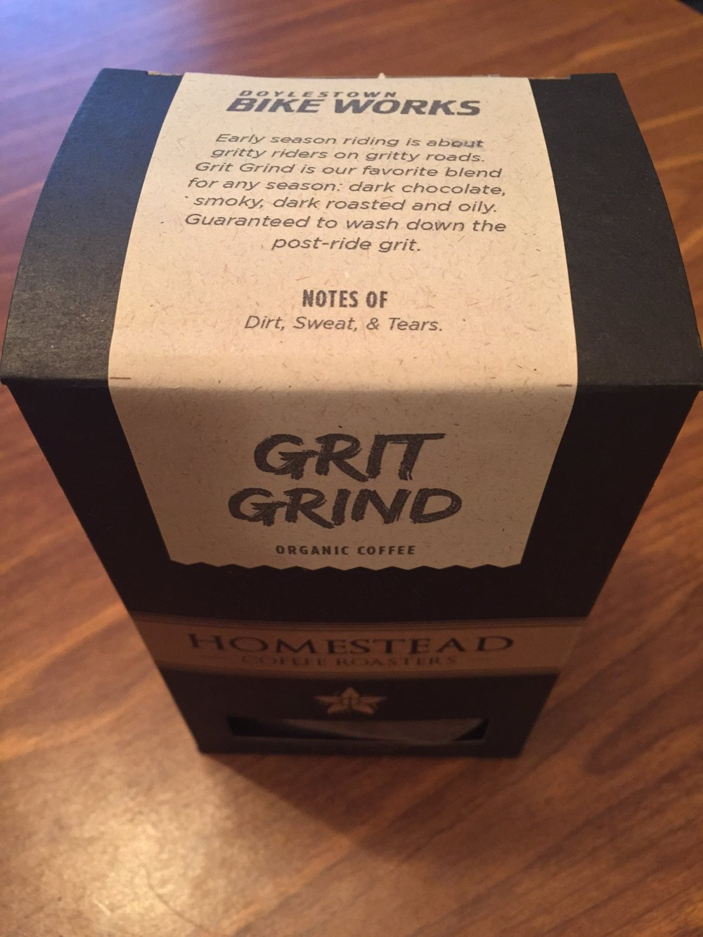 Homestead Coffee's Grit Grind, brewed for Doylestown Bike Works, may be recommended for any season, but winter is where this big dark coffee shines.