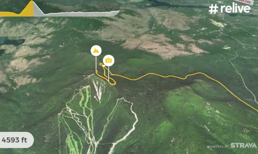 Whiteface Mountain is shown in detail, complete with the ski runs on the opposite side of the Memorial Highway. Here the app highlights the highest point of the ride after showing a photo that was taken during the ascent.