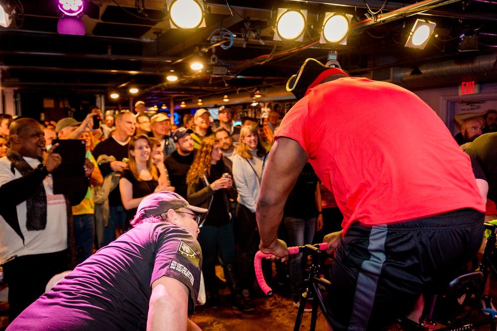 Egil providing support to Alfred Harris of Funky Town Velo in front of a packed house at Puck Live on February 10th in Doylestown, PA.