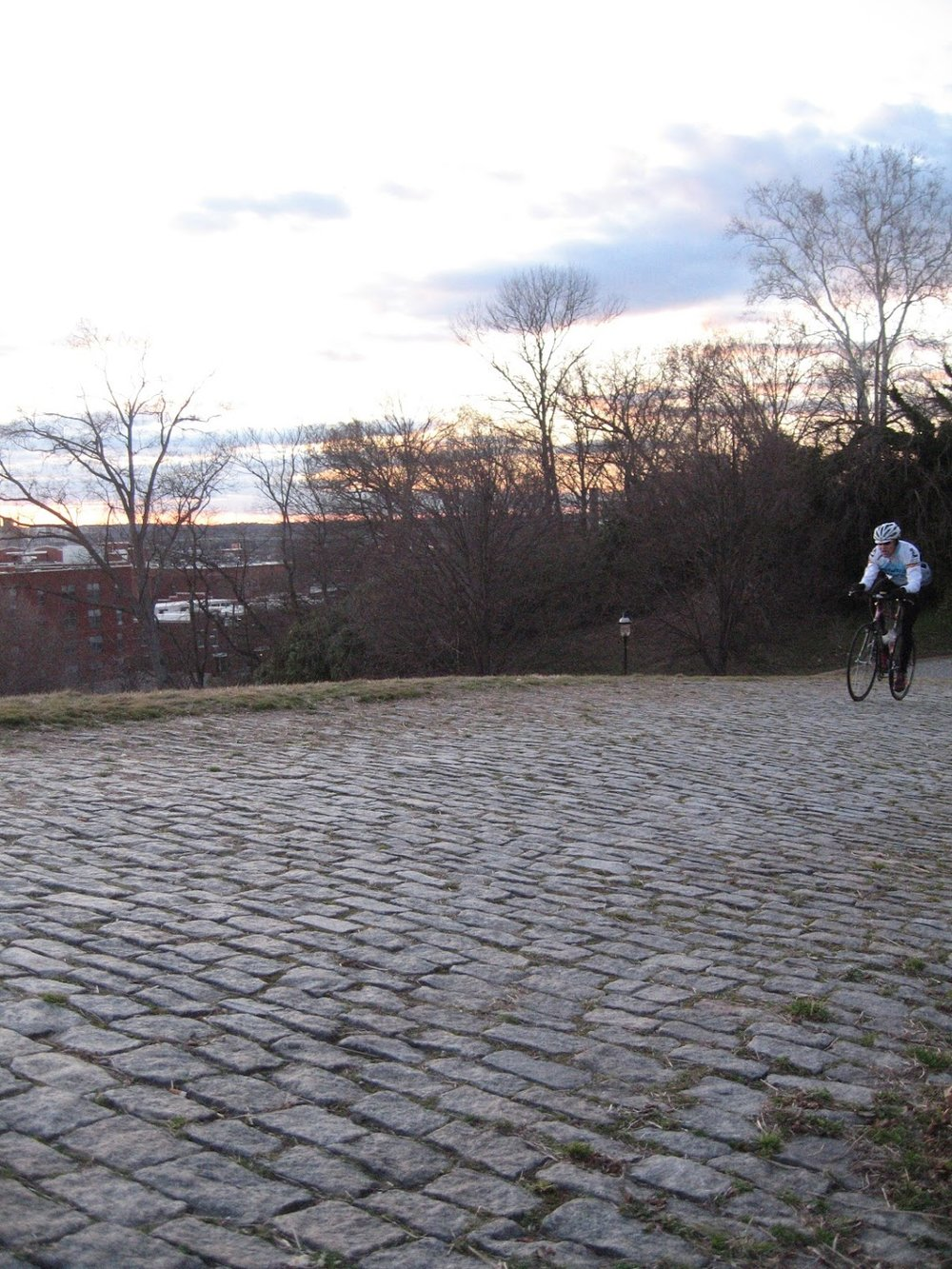 Riding up Libby Hill in Richmond, VA, as featured in the USGP and World Championship Courses
