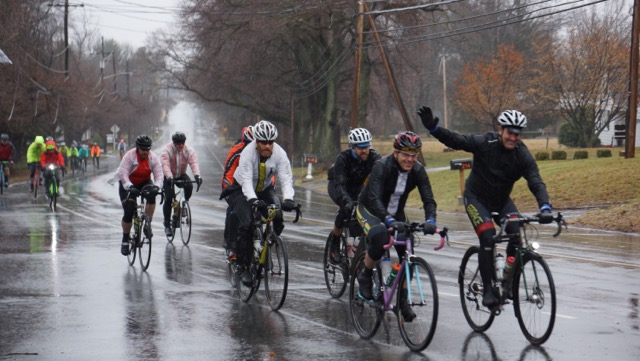At just over a mile into the ride, exiting Hopewell's Main Street, and everyone was soaked. The rain would let up soon though. Photo courtesy Emily Vickers, MVPLLC.