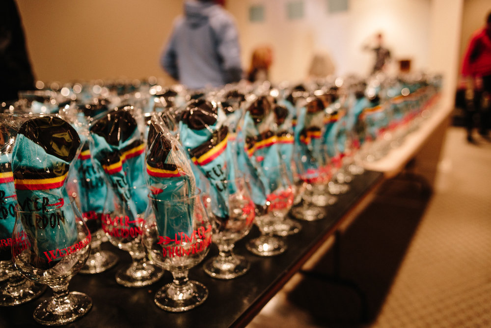 Weyerbacher Hell of Hunterdon finisher glasses stuffed with a pair of event socks awaited each finisher.