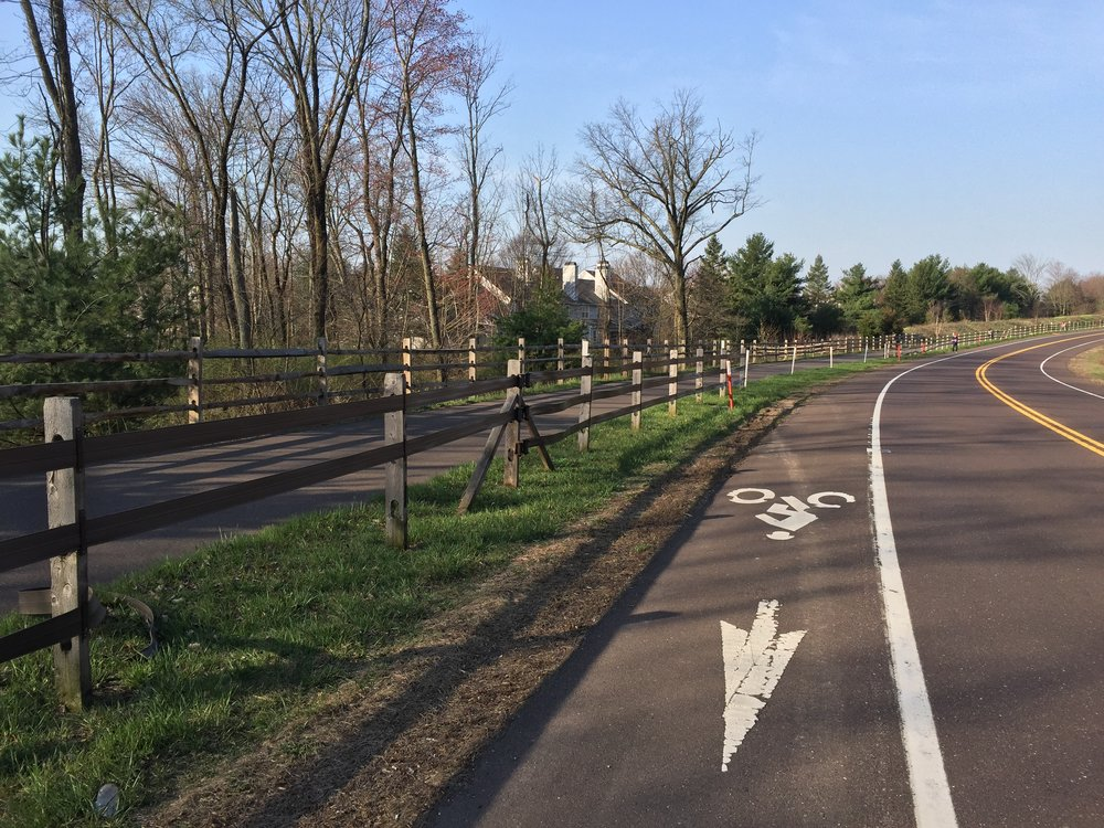 The 202 Parkway has a bike lane that parallels numerous areas where motorists have left the roadway. Here are the plastic staps that replaced the split rails. In the middle ground are the vacant places where the fence was abandoned in favor of reflector poles.