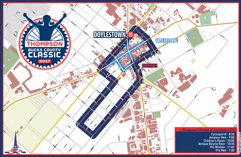 Unchanged from 2017, the navy blue line denotes the Bucks County Classic route; the roads in light blue demarcate the Doylestown Arts Festival location.
