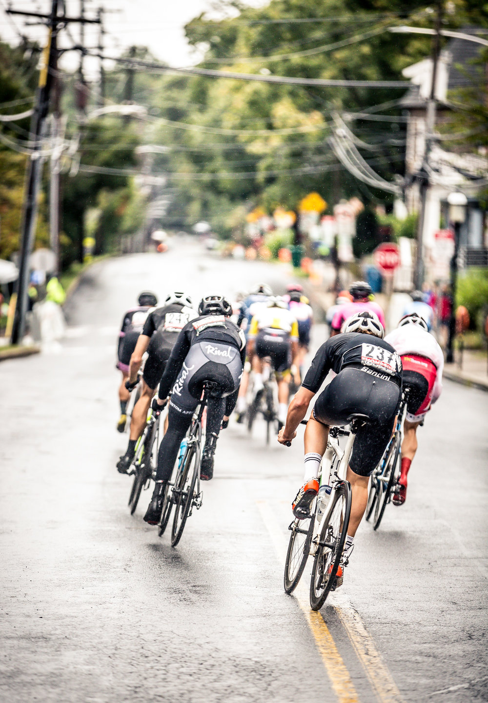 The Amateur 2/3 men racing down Ashland Street to start the Bucks County Classic schedule.