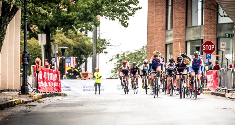 Riders begin the descending portion of the Doylestown Health Women's Classic race with ISCorp Pro Cycling on the front.