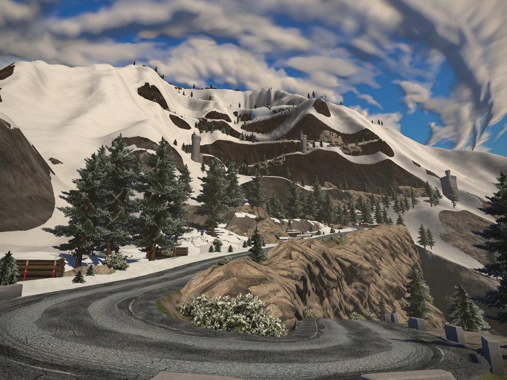 Climb Alpe du Zwift for a climbing simulation. Screenshot from zwift.com