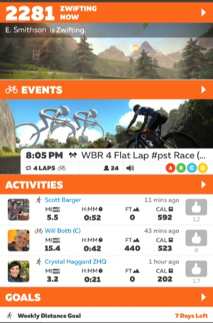 The Zwift Companion home page lists active Zwifters, activities by riders followed, and goal progress.