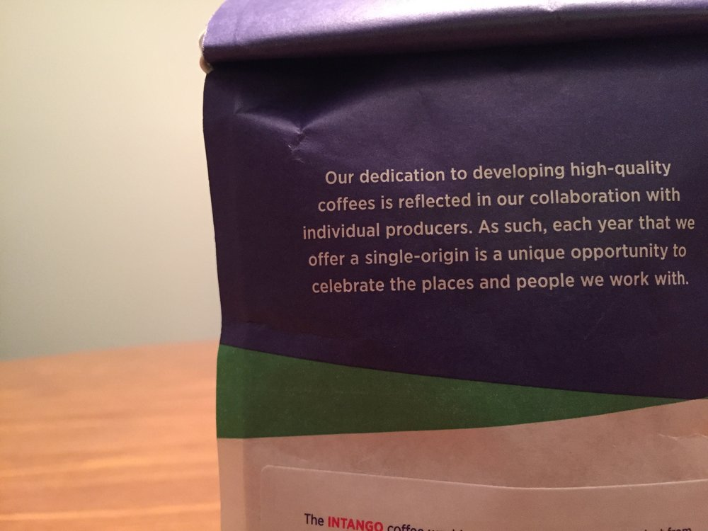 The back of the Counter Culture Coffee bag hints at the possibility this origin/ roast won't be around long.
