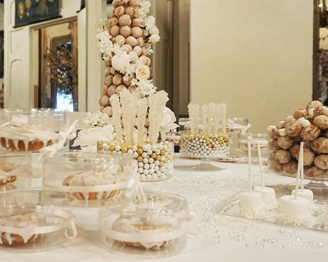 Baby shower dessert table and favors! Glam white, blush and gold theme.