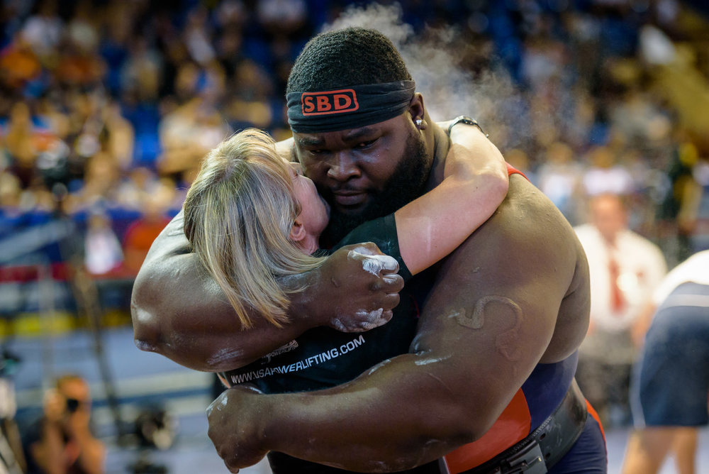 Ray Williams embraces the coach Suzanne Hartwig-Gary
