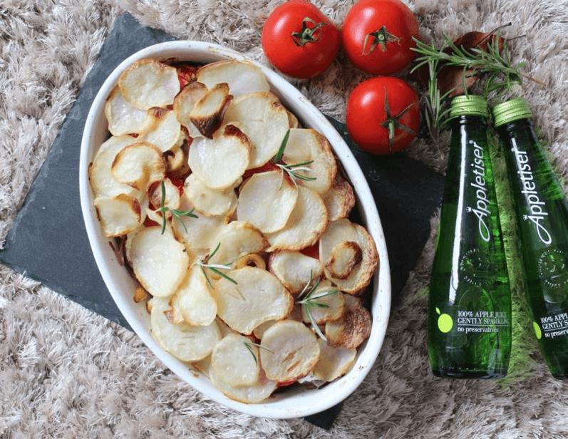 Aubergine potato gratin