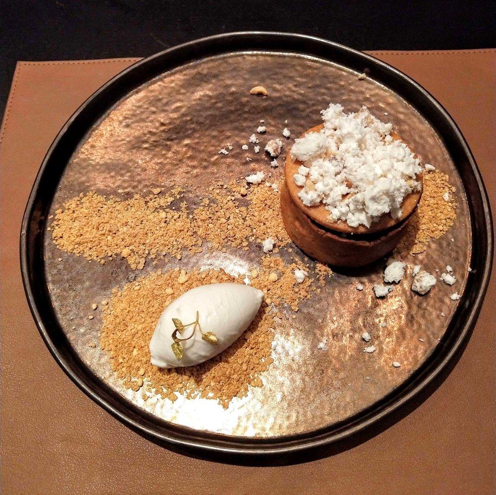bourbon and pecan with bourbon gel, ice cream sponge POTUS restaurant vauxhall London