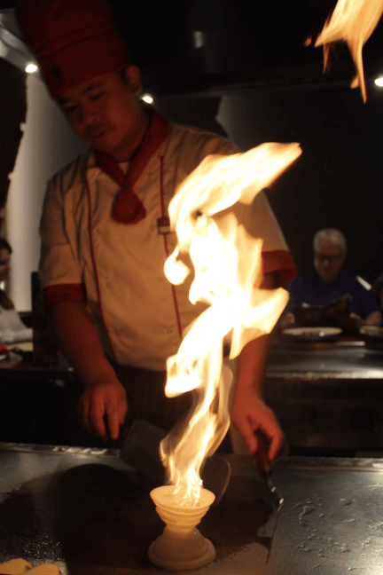 Benihana Chelsea chef on fire
