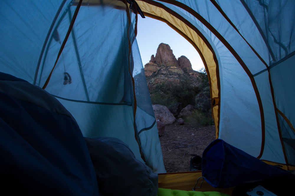 Camping at Weaver's Needle, Superstition Mountains, Arizona