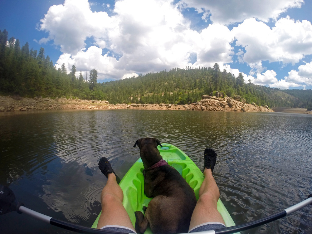 Kayaking with my dog, Allarah at Blue Ridge Reservoir, Arizona