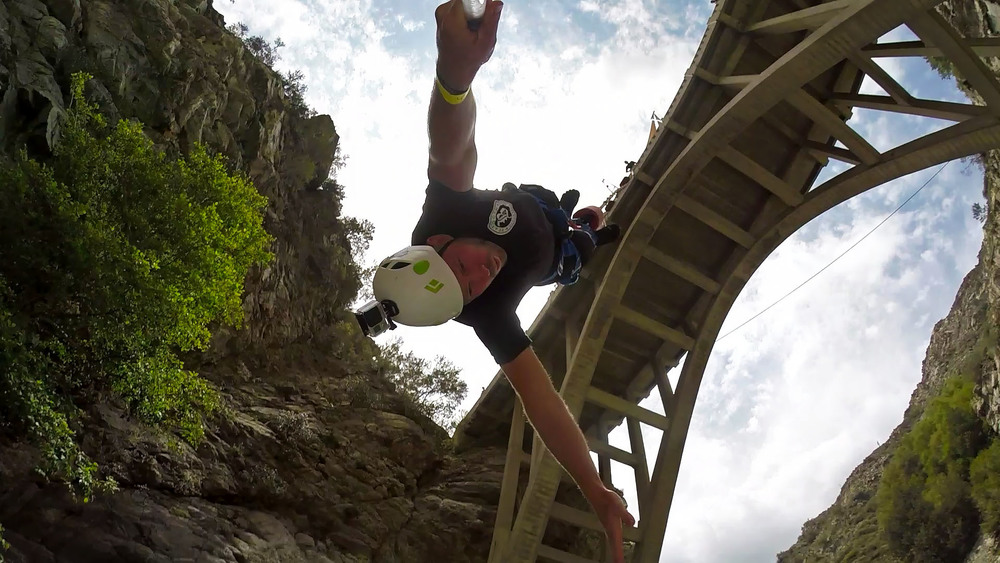 Bungee Jumping from the Bridge to Nowhere in the Angeles National Forest, California