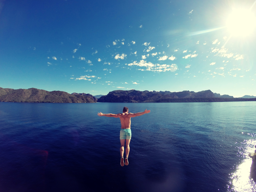 Cliff jumping at Saguaro Lake, Arizona