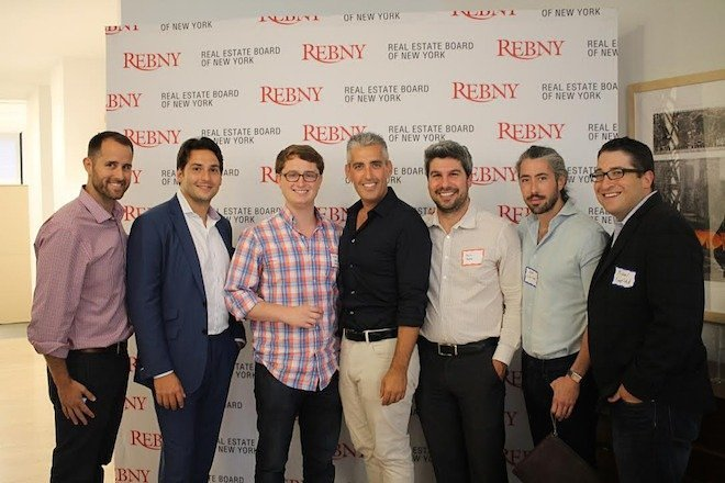 Steve Schlafman of RRE, David Goldberg and Jason Shuman of Corigin Ventures, Aaron Block and Zach Aarons of MetaProp NYC, Jeffrey Berman of Camber Creek, Michael Mandel of CompStak at an July 23 event announcing the The Real Estate Board of New York as a new MetaProp corporate partner.