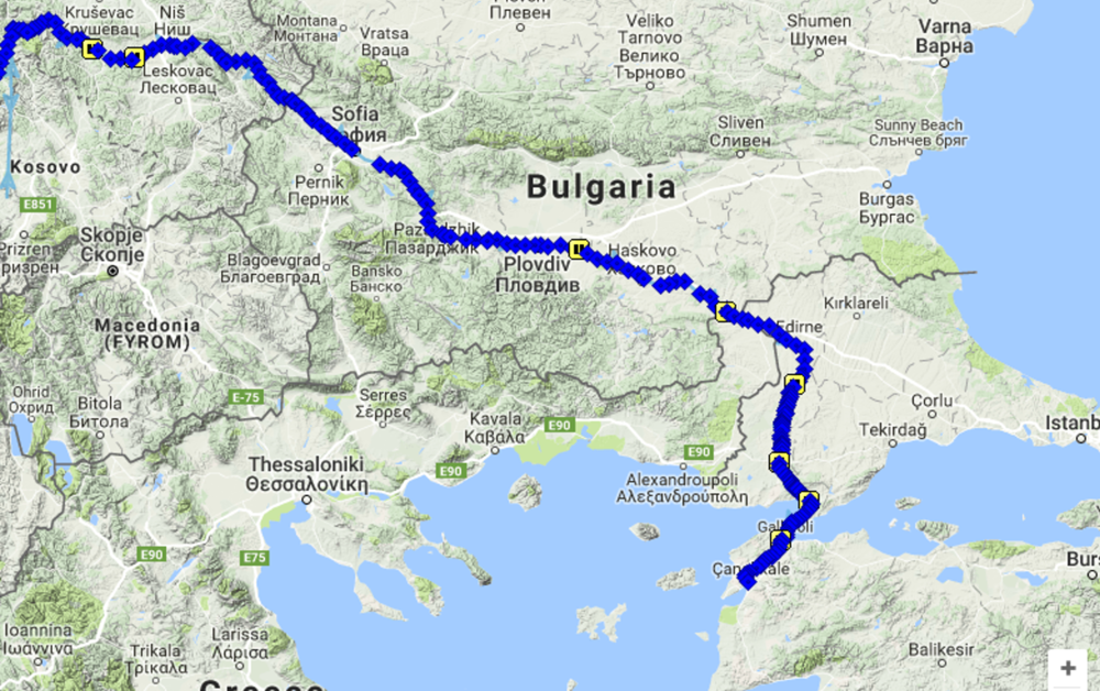 Kristof's route from Niš to Canakkale