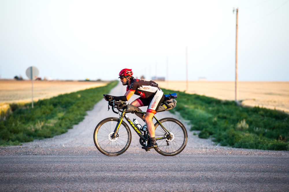 Mike Hall on the inaugural TransAm bike race in 2014. Photograph by Eddie Clark