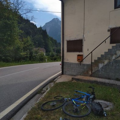 "Meg Pugh (#138) ""Puncture. But Slovenia and CP2 around the corner..."""