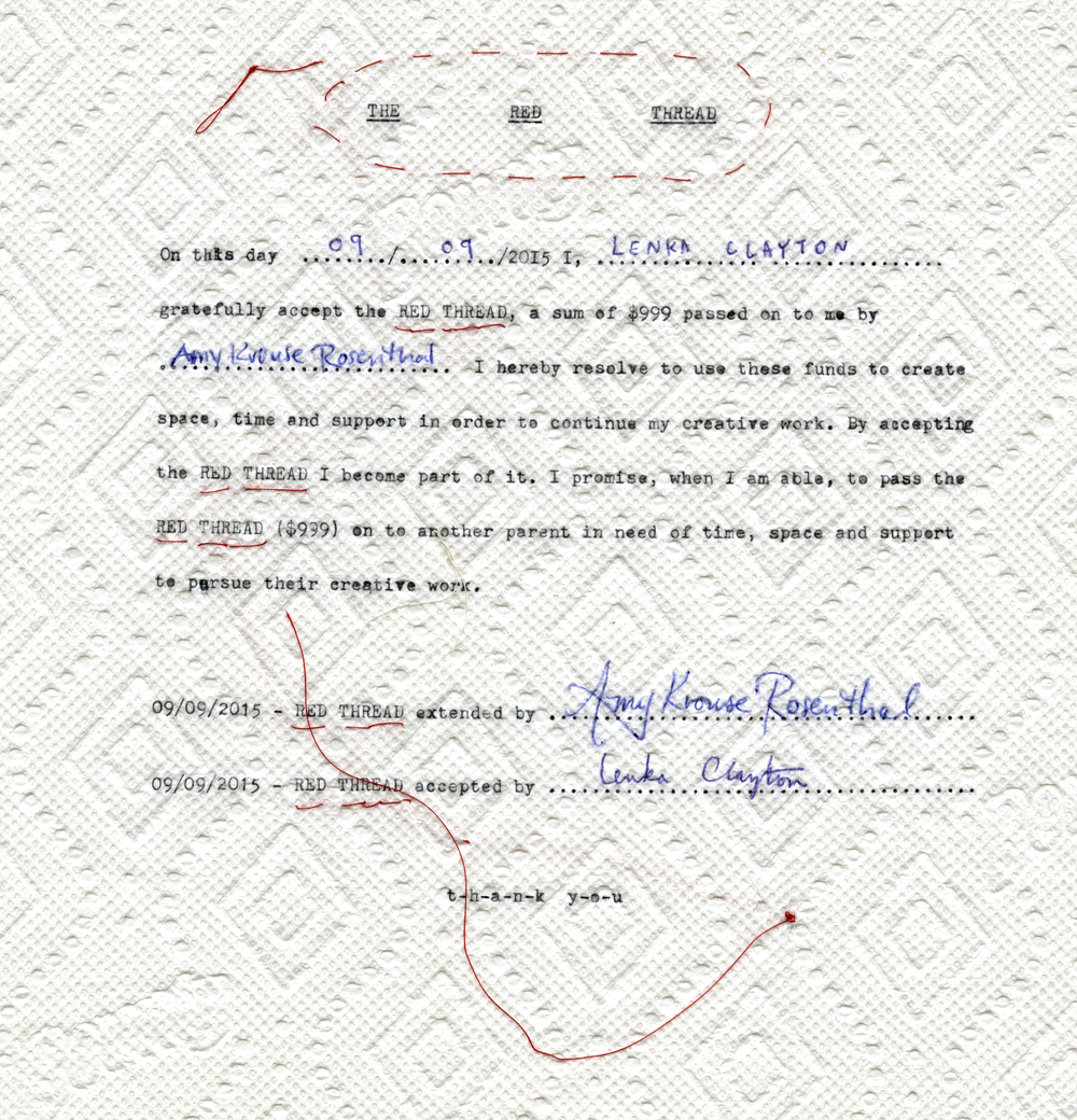 The original contract devised between Amy Krouse Rosenthal and Lenka Clayton, 2015 / typewriter ink, pen and thread on kitchen towel. Each pairing of grant-giver & grant recipient devise their own contract.