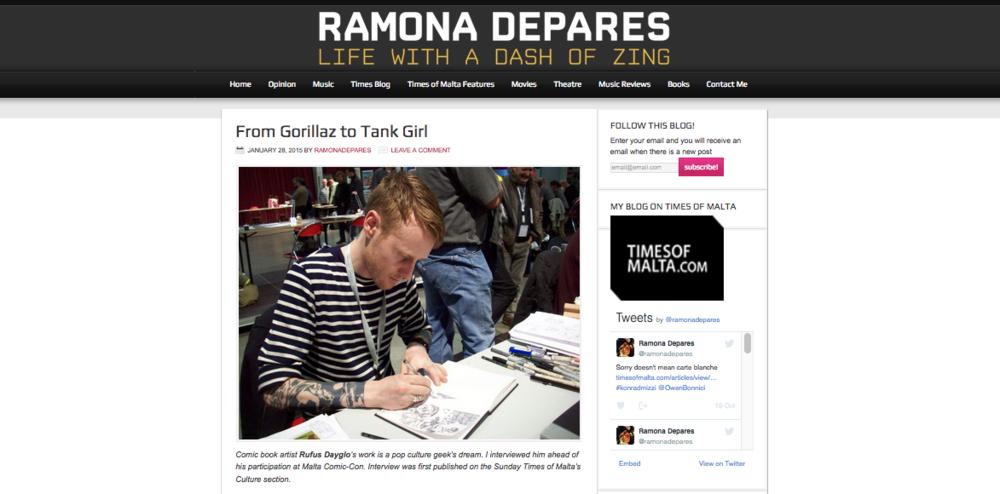 Ramona Depares Gorillaz to Tank Girl