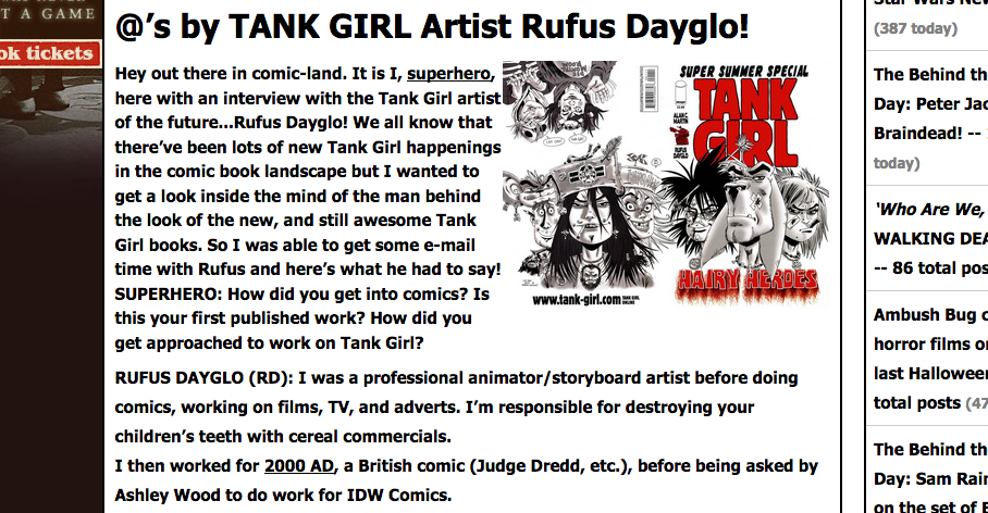 Aint It Cool chats with Tank Girl Artist Rufus Dayglo