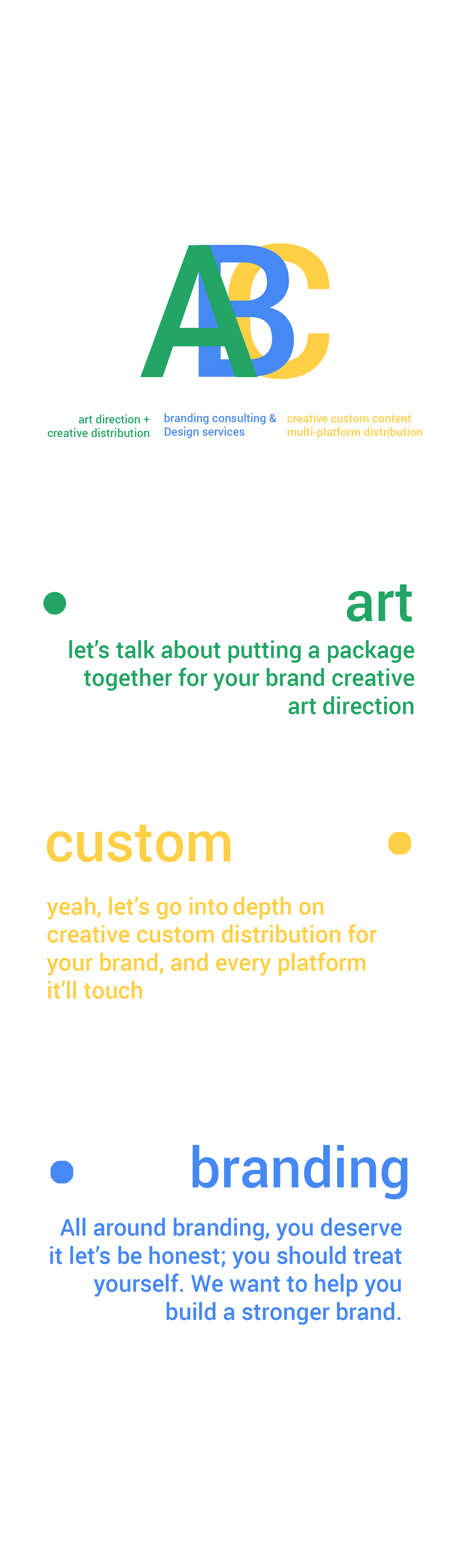 ABC | art direction, custom content, branding