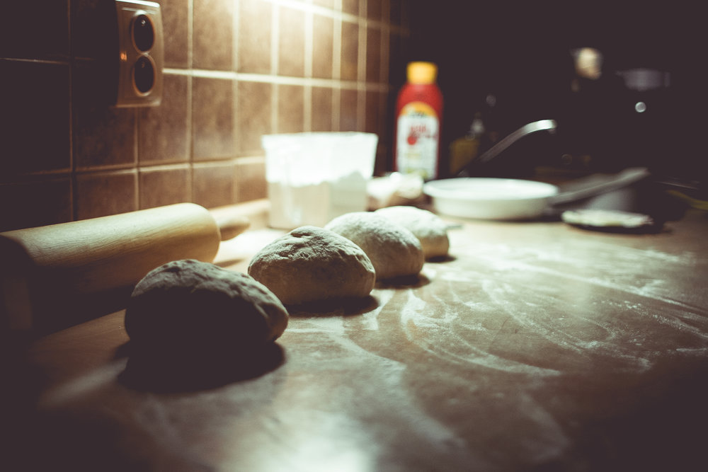Dough prepared to make Italian pizza.