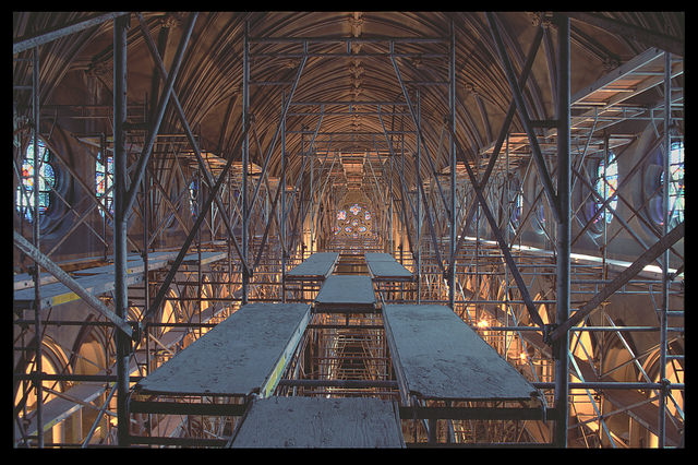 Interior Scaffolding during the renovation of College Church