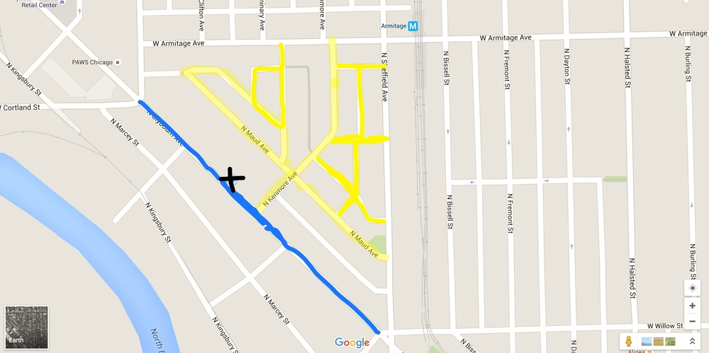 """Parking in the yellow is residential and is free every day. Parking in the blue is metered for 2$/HR on friday and Saturday, free on Sundays. """"X"""" marks the spot for Entropy.  1925 N. Clybourn avenue Chicago, IL Suite 302"""